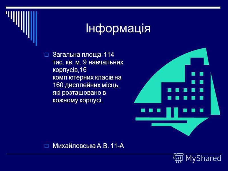 Інформація Загальна площа-114 тис. кв. м. 9 навчальних корпусів,16 компютерних класів на 160 дисплейних місць, які розташовано в кожному корпусі. Михайловська А.В. 11-А