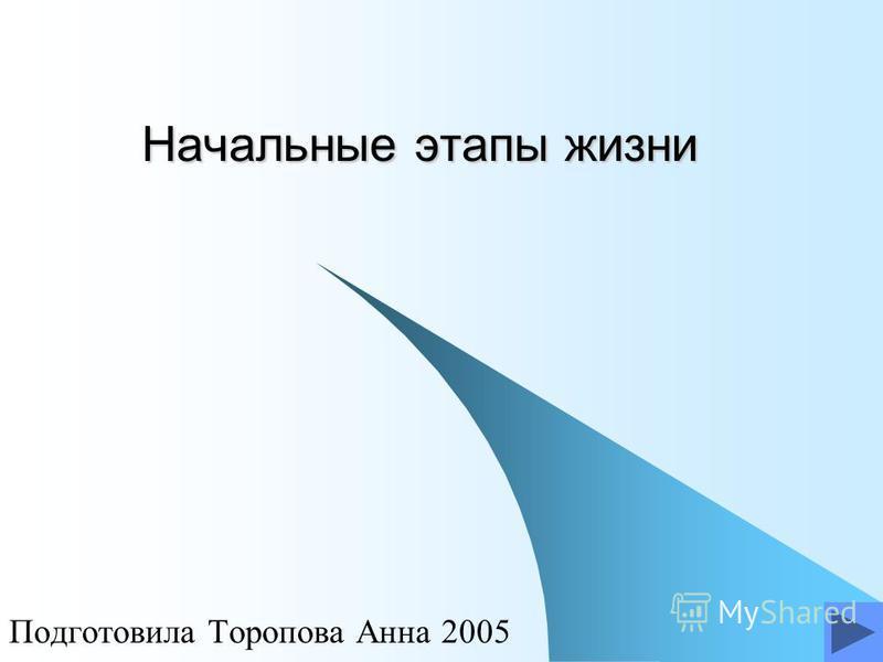 Начальные этапы жизни Подготовила Торопова Анна 2005