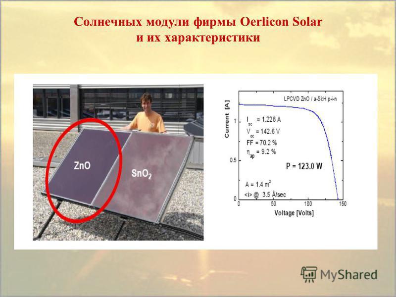 Солнечных модули фирмы Oerlicon Solar и их характеристики