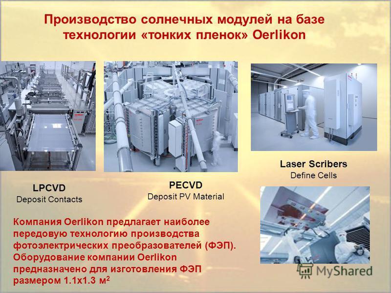 Laser Scribers Define Cells Производство солнечных модулей на базе технологии «тонких пленок» Oerlikon LPCVD Deposit Contacts PECVD Deposit PV Material Компания Oerlikon предлагает наиболее передовую технологию производства фотоэлектрических преобраз