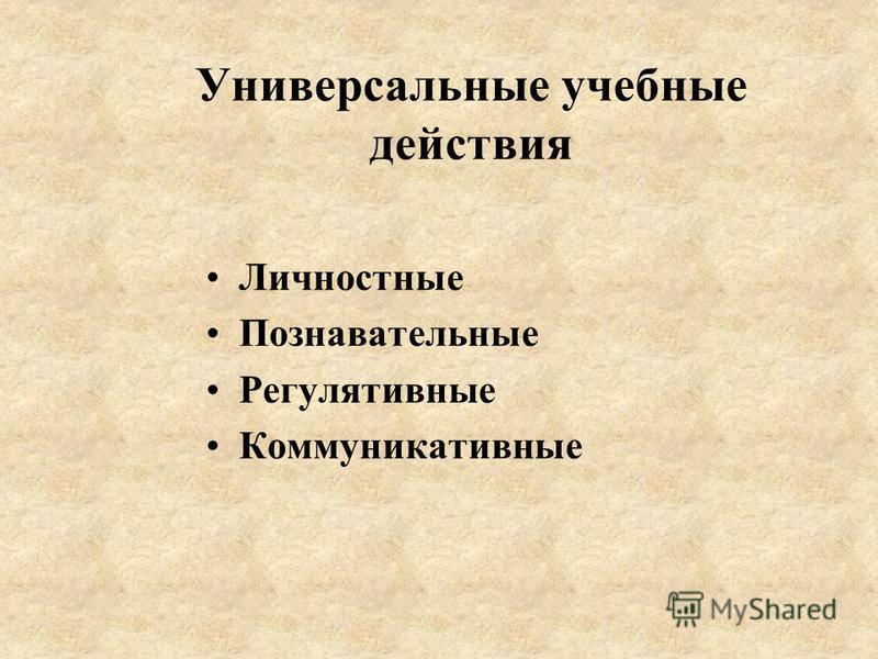 Универсальные учебные действия Личностные Познавательные Регулятивные Коммуникативные
