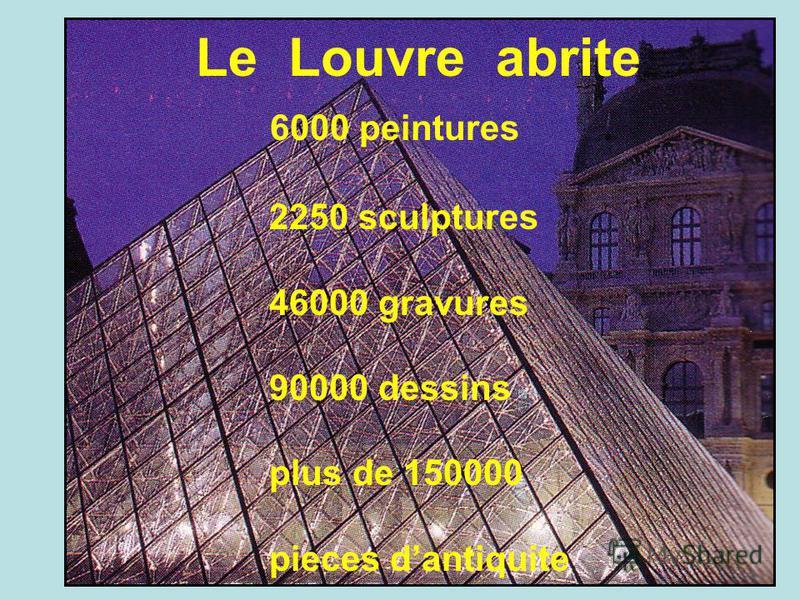 Le Louvre abrite 6000 peintures 2250 sculptures 46000 gravures 90000 dessins plus de 150000 pieces dantiquite