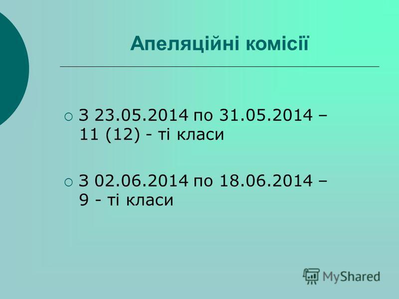 Апеляційні комісії З 23.05.2014 по 31.05.2014 – 11 (12) - ті класи З 02.06.2014 по 18.06.2014 – 9 - ті класи