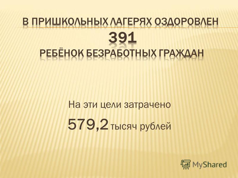 На эти цели затрачено 579,2 тысяч рублей