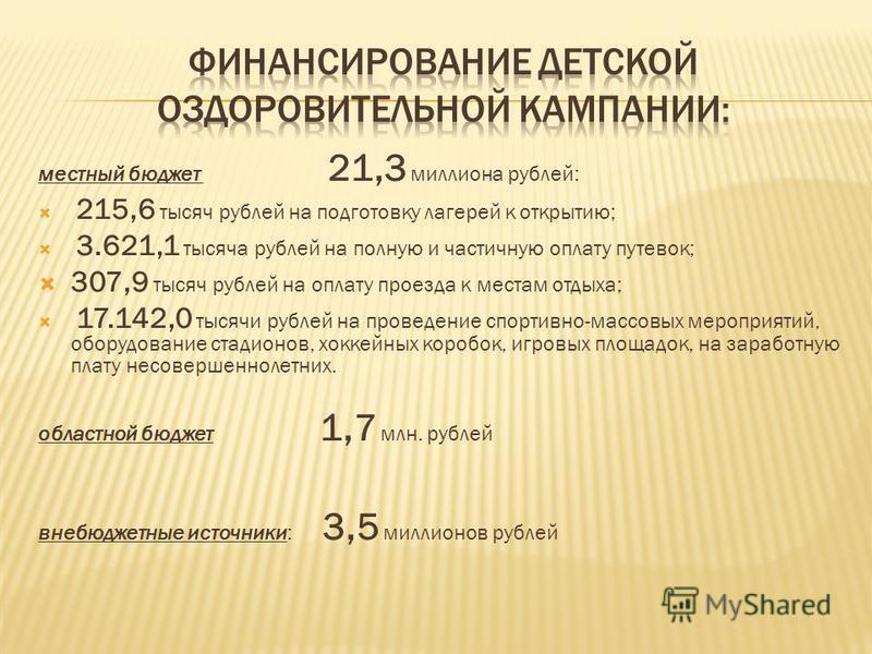 местный бюджет 21,3 миллиона рублей: 215,6 тысяч рублей на подготовку лагерей к открытию; 3.621,1 тысяча рублей на полную и частичную оплату путевок; 307,9 тысяч рублей на оплату проезда к местам отдыха; 17.142,0 тысячи рублей на проведение спортивно
