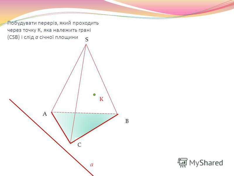 Побудувати переріз, який проходить через точку К, яка належить грані (СSB) і слід а січної площини К S С А В а