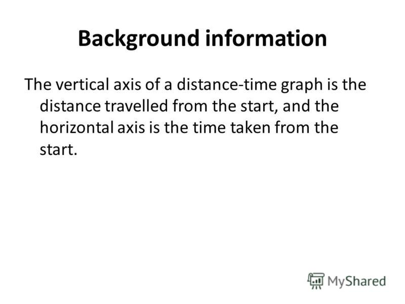 Background information The vertical axis of a distance-time graph is the distance travelled from the start, and the horizontal axis is the time taken from the start.