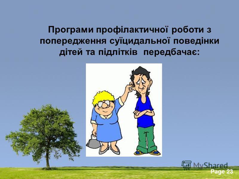 Powerpoint Templates Page 23 Програми профілактичної роботи з попередження суїцидальної поведінки дітей та підлітків передбачає: