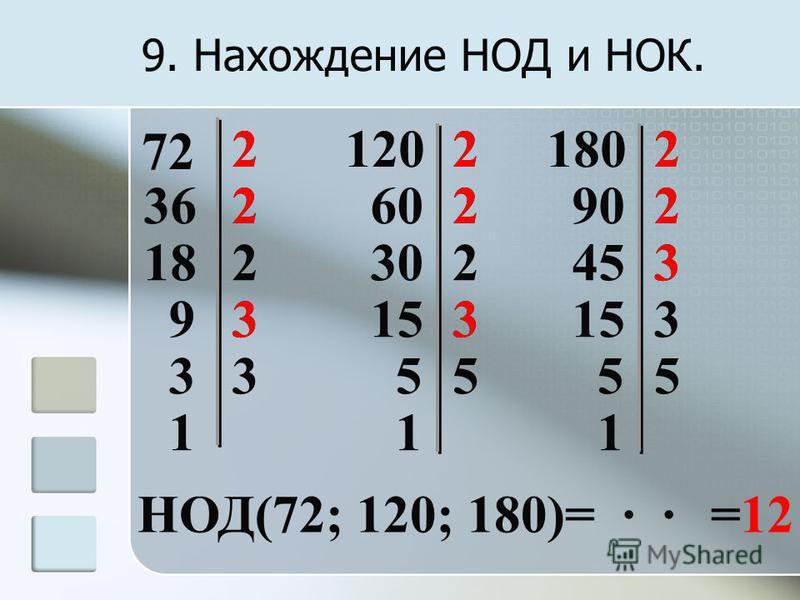 9. Нахождение НОД и НОК. 72 2 362 182 93 33 1 22 12018022 60 302 153 55 1 90 453 153 55 1 НОД(72; 120; 180)= · · 222 222 33 3 =12