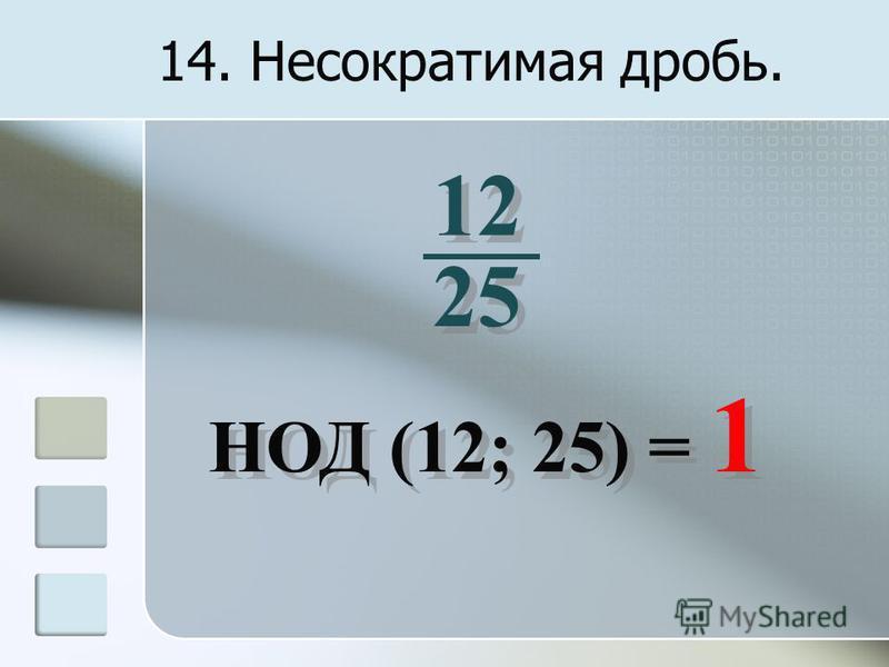 14. Несократимая дробь. 12 25 НОД (12; 25) = 1