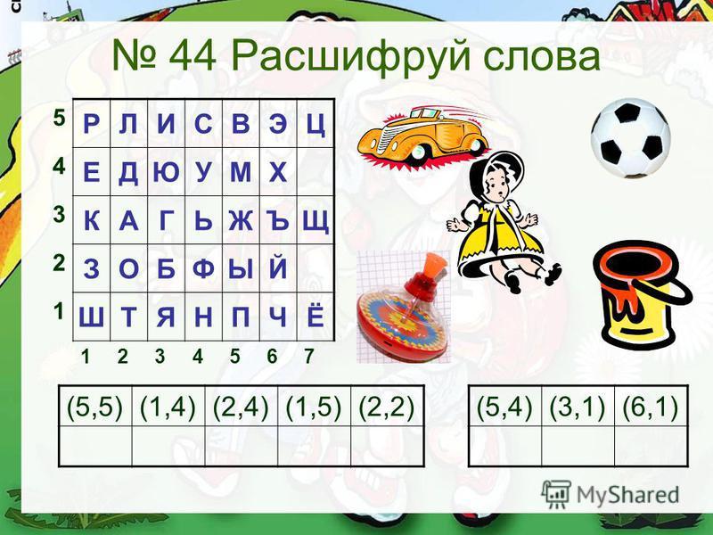 44 Расшифруй слова 5 РЛИСВЭЦ 4 ЕДЮУМХ 3 КАГЬЖЪЩ 2 ЗОБФЫЙ 1 ШТЯНПЧЁ 1234567 (5,5)(1,4)(2,4)(1,5)(2,2)(5,4)(3,1)(6,1)