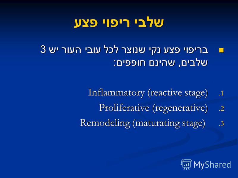 שלבי ריפוי פצע בריפוי פצע נקי שנוצר לכל עובי העור יש 3 שלבים, שהינם חופפים : בריפוי פצע נקי שנוצר לכל עובי העור יש 3 שלבים, שהינם חופפים : 1. Inflammatory (reactive stage) 2. Proliferative (regenerative) 3. Remodeling (maturating stage)