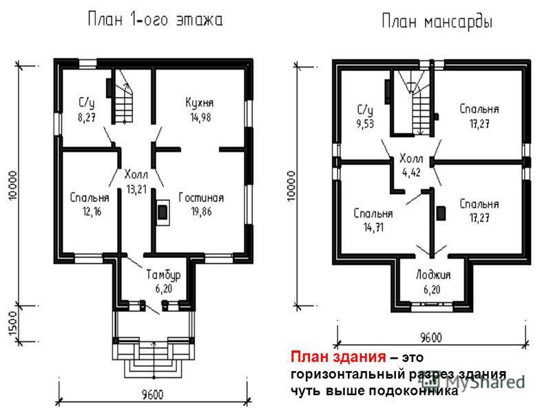 План здания – это горизонтальный разрез здания чуть выше подоконника