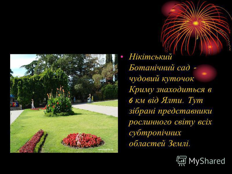 Нікітський Ботанічний сад - чудовий куточок Криму знаходиться в 6 км від Ялти. Тут зібрані представники рослинного світу всіх субтропічних областей Землі.