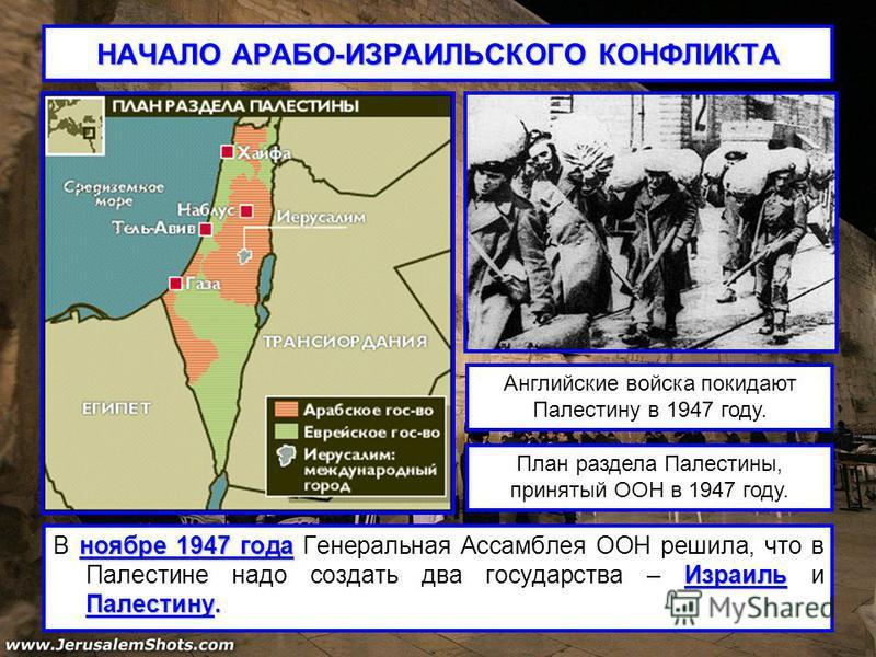 НАЧАЛО АРАБО-ИЗРАИЛЬСКОГО КОНФЛИКТА ноябре 1947 года Израиль Палестину. В ноябре 1947 года Генеральная Ассамблея ООН решила, что в Палестине надо создать два государства – Израиль и Палестину. Английские войска покидают Палестину в 1947 году. План ра