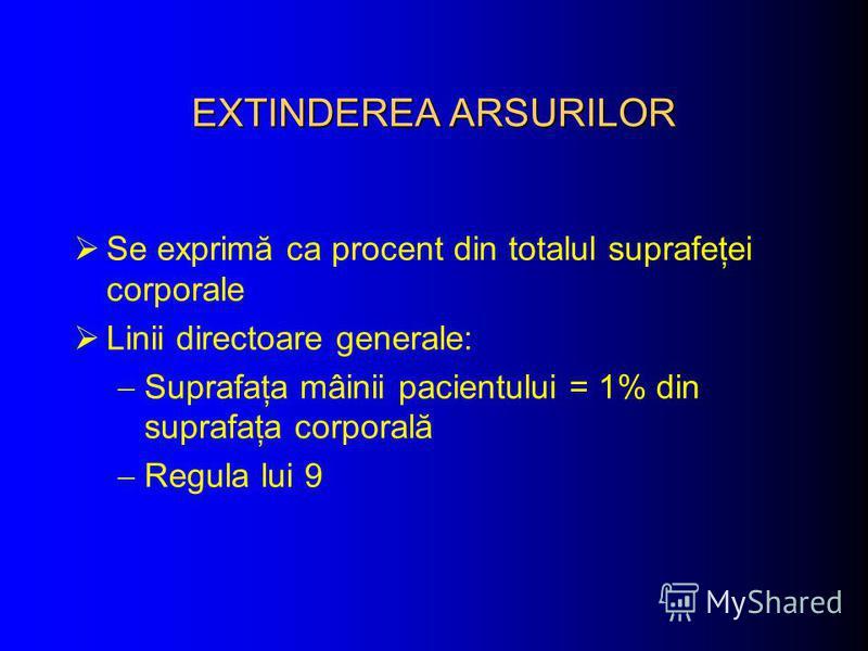 EXTINDEREA ARSURILOR Se exprimă ca procent din totalul suprafeţei corporale Linii directoare generale: Suprafaţa mâinii pacientului = 1% din suprafaţa corporală Regula lui 9