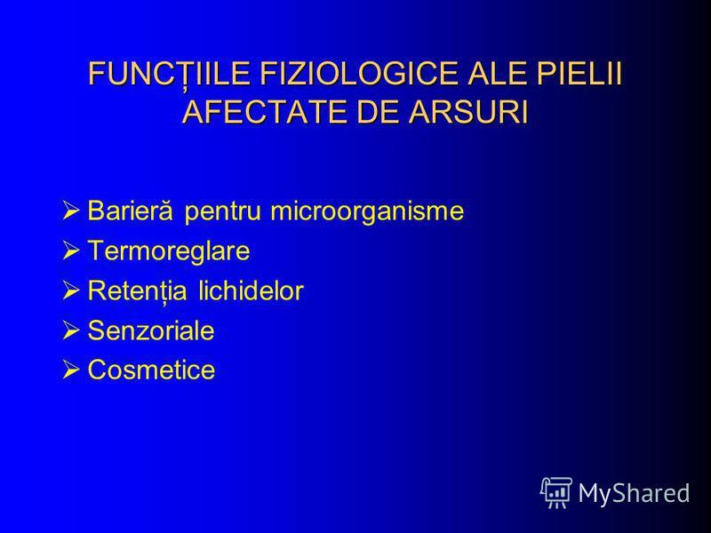 FUNCŢIILE FIZIOLOGICE ALE PIELII AFECTATE DE ARSURI Barieră pentru microorganisme Termoreglare Retenţia lichidelor Senzoriale Cosmetice