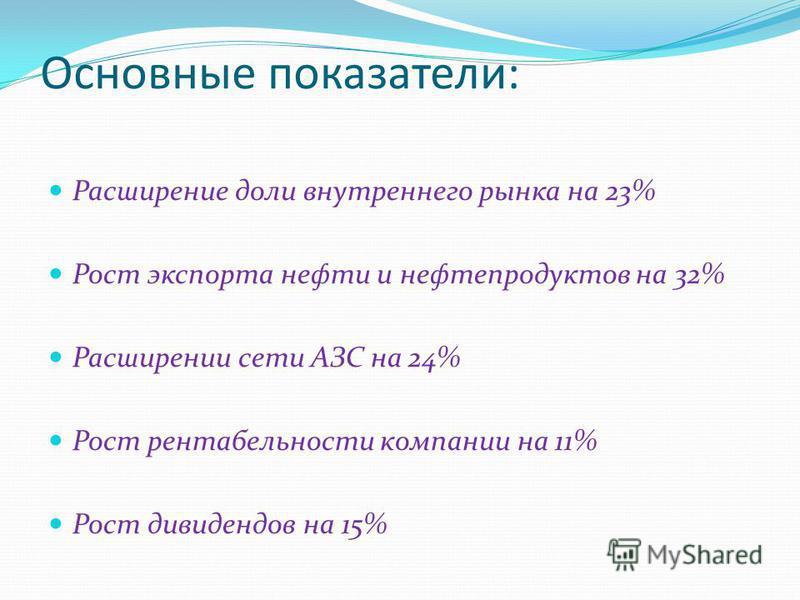 Основные показатели: Расширение доли внутреннего рынка на 23% Рост экспорта нефти и нефтепродуктов на 32% Расширении сети АЗС на 24% Рост рентабельности компании на 11% Рост дивидендов на 15%