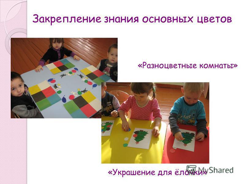 Закрепление знания основных цветов «Разноцветные комнаты» «Украшение для ёлочки»