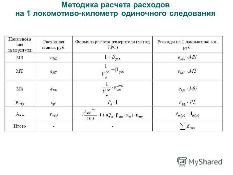 Методика расчета расходов на 1 локомотива-километр одиночного следования