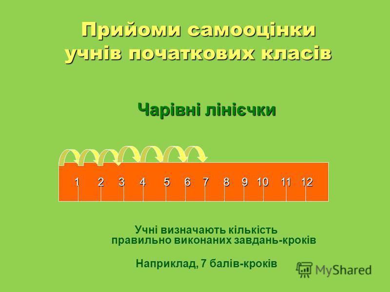 Прийоми самооцінки учнів початкових класів Чарівні лінієчки Учні визначають кількість правильно виконаних завдань-кроків Наприклад, 7 балів-кроків 1 2 3 4 5 6 7 8 9 10 11 12 1 2 3 4 5 6 7 8 9 10 11 12