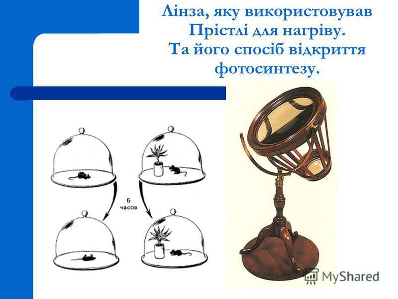 Лінза, яку використовував Прістлі для нагріву. Та його спосіб відкриття фотосинтезу.