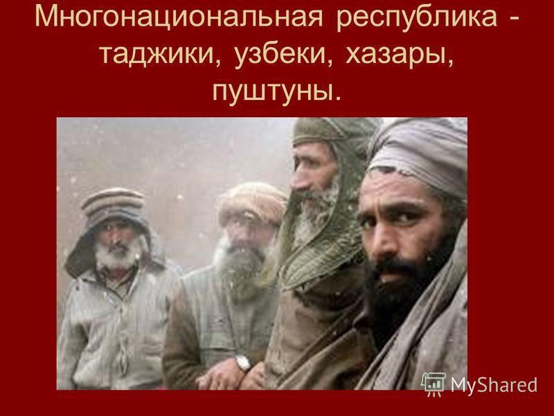 Многонациональная республика - таджики, узбеки, хазары, пуштуны.