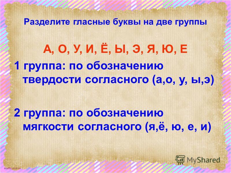 scul32.ucoz.ru Разделите гласные буквы на две группы А, О, У, И, Ё, Ы, Э, Я, Ю, Е 1 группа: по обозначению твердости согласного (а,о, у, ы,э) 2 группа: по обозначению мягкости согласного (я,ё, ю, е, и)