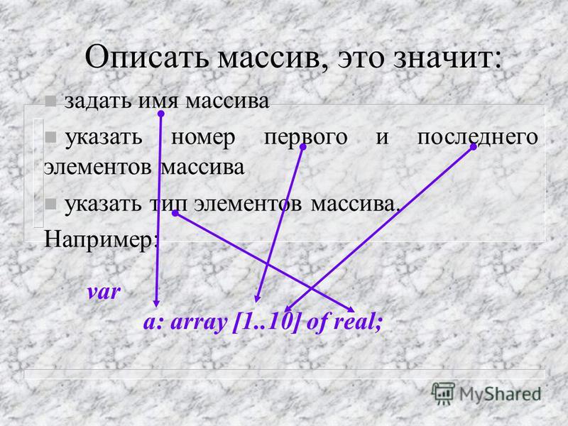 Двумерный массив (матрица) Направление изменения первого индекса Направление изменения второго индекса A[2,3]