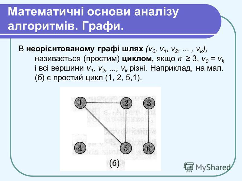 Математичні основи аналізу алгоритмів. Графи. В неорієнтованому графі шлях (v 0, v 1, v 2,..., v k ), називається (простим) циклом, якщо к 3, v 0 = v k і всі вершини v 1, v 2,..., v k різні. Наприклад, на мал. (б) є простий цикл (1, 2, 5,1).