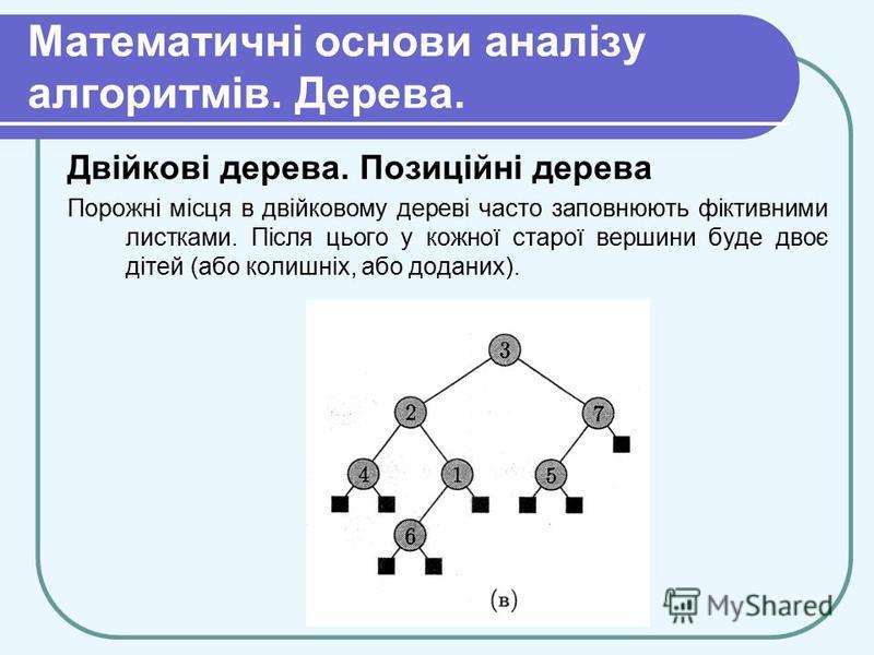Математичні основи аналізу алгоритмів. Дерева. Двійкові дерева. Позиційні дерева Порожні місця в двійковому дереві часто заповнюють фіктивними листками. Після цього у кожної старої вершини буде двоє дітей (або колишніх, або доданих).