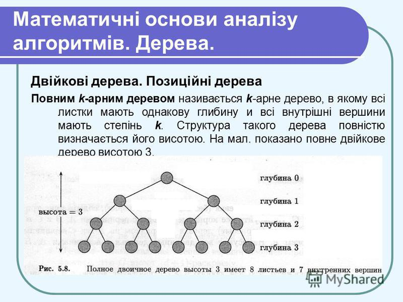 Математичні основи аналізу алгоритмів. Дерева. Двійкові дерева. Позиційні дерева Повним k-арним деревом називається k-арне дерево, в якому всі листки мають однакову глибину и всі внутрішні вершини мають степінь k. Структура такого дерева повністю виз