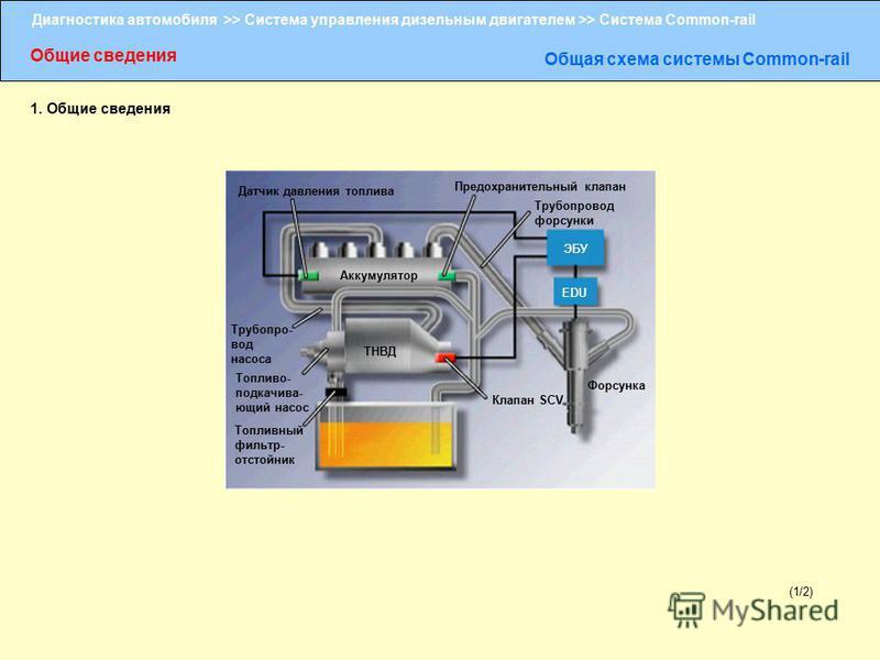 Диагностика автомобиля >> Система управления дизельным двигателем >> Система Common-rail Общие сведения Общая схема системы Сommon-rail (1/2) 1. Общие сведения Датчик давления топлива Предохранительный клапан Трубопровод форсунки Аккумулятор ЭБУ EDU