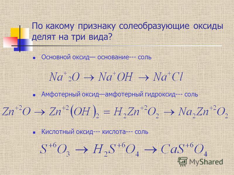 По какому признаку солеобразующие оксиды делят на три вида? Основной оксид основание--- соль Амфотерный оксид амфотерный гидроксид--- соль Кислотный оксид--- кислота--- соль