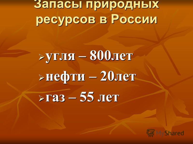 Запасы природных ресурсов в России угля – 800 лет угля – 800 лет нефти – 20 лет нефти – 20 лет газ – 55 лет газ – 55 лет