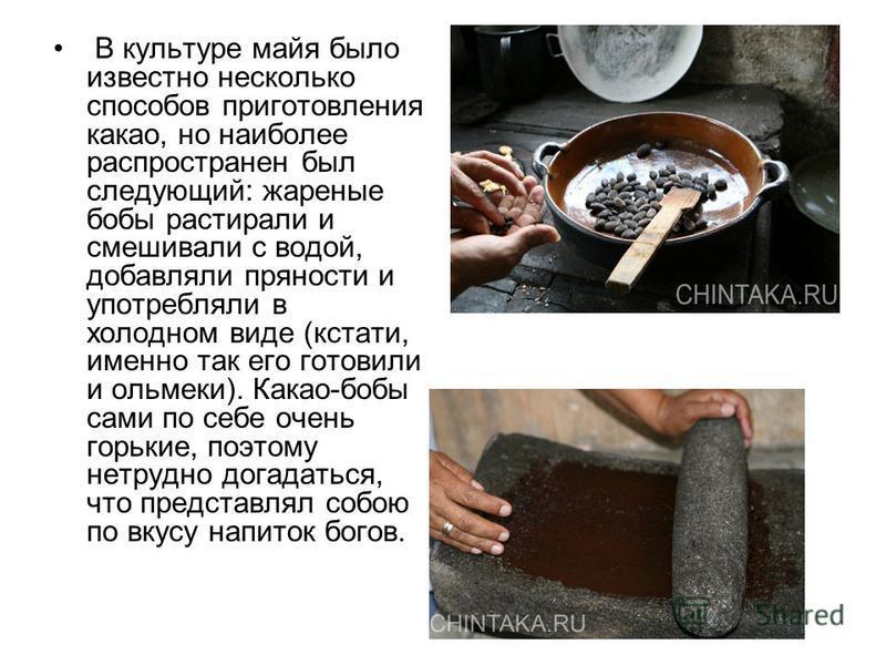 В культуре майя было известно несколько способов приготовления какао, но наиболее распространен был следующий: жареные бобы растирали и смешивали с водой, добавляли пряности и употребляли в холодном виде (кстати, именно так его готовили и ольмеки). К