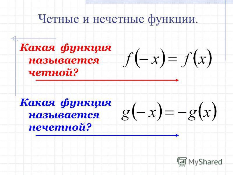Какая функция называется четной? Какая функция называется нечетной? Четные и нечетные функции.