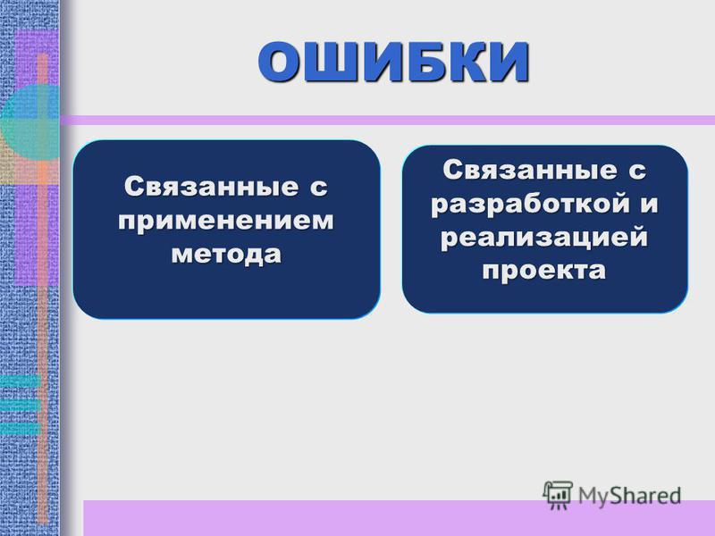ОШИБКИ Связанные с применением метода Связанные с разработкой и реализацией проекта