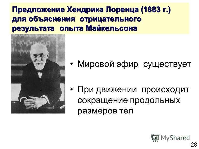 28 Предложение Хендрика Лоренца (1883 г.) для объяснения отрицательного результата опыта Майкельсона Мировой эфир существует При движении происходит сокращение продольных размеров тел