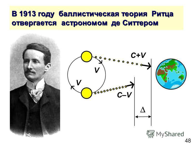 48 В 1913 году баллистическая теория Ритца отвергается астрономом де Ситтером C+V V V C–V