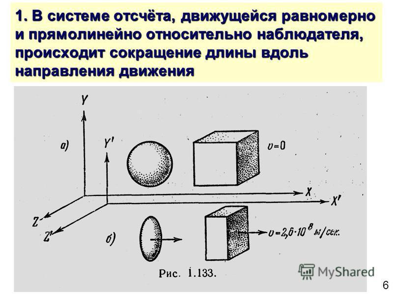 6 1. В системе отсчёта, движущейся равномерно и прямолинейно относительно наблюдателя, происходит сокращение длины вдоль направления движения