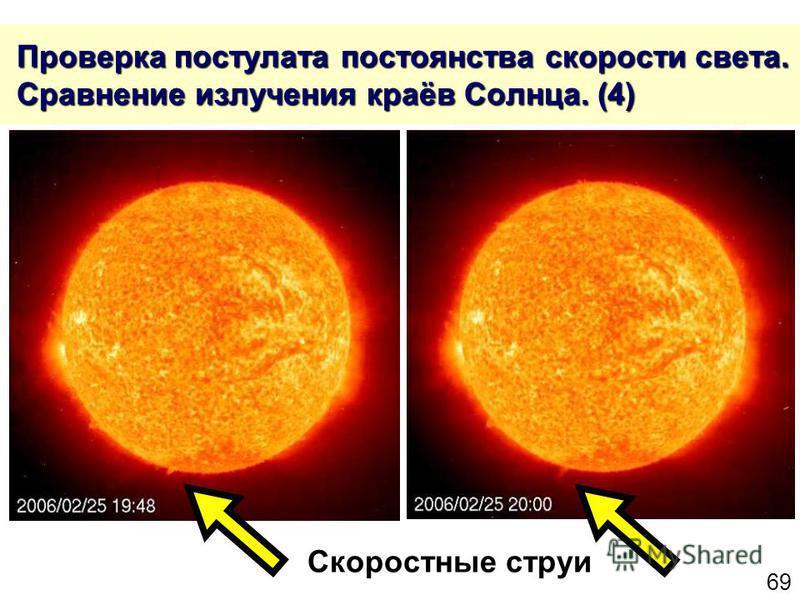 69 Проверка постулата постоянства скорости света. Сравнение излучения краёв Солнца. (4) Проверка постулата постоянства скорости света. Сравнение излучения краёв Солнца. (4) Скоростные струи