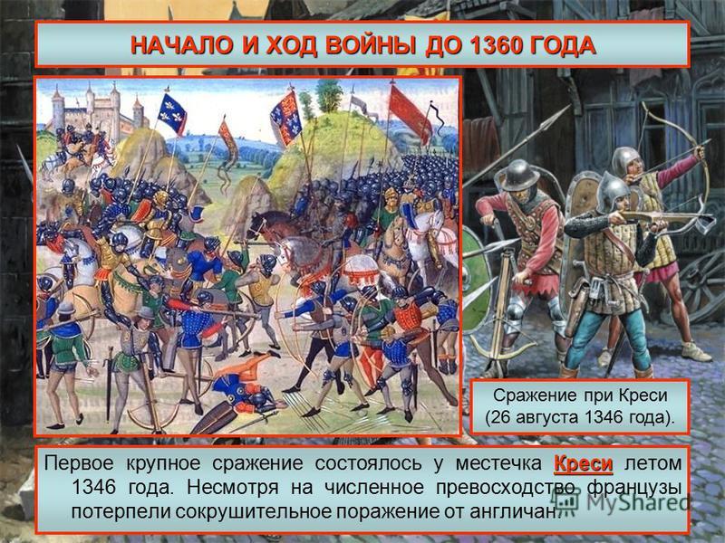 НАЧАЛО И ХОД ВОЙНЫ ДО 1360 ГОДА Креси Первое крупное сражение состоялось у местечка Креси летом 1346 года. Несмотря на численное превосходство французы потерпели сокрушительное поражение от англичан. Сражение при Креси (26 августа 1346 года).