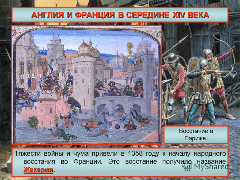 АНГЛИЯ И ФРАНЦИЯ В СЕРЕДИНЕ XIV ВЕКА Жакерия. Тяжести войны и чума привели в 1358 году к началу народного восстания во Франции. Это восстание получило название Жакерия. Восстание в Париже.