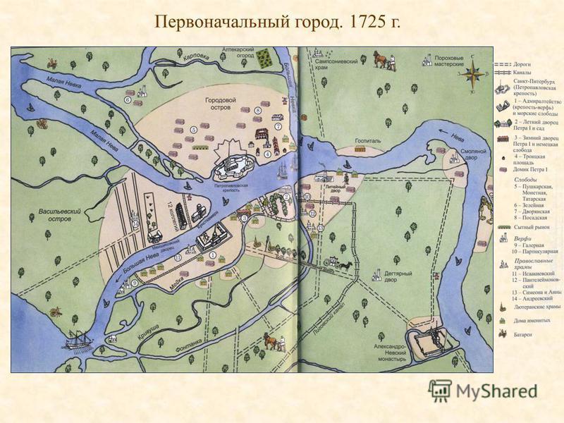 Первоначальный город. 1725 г.