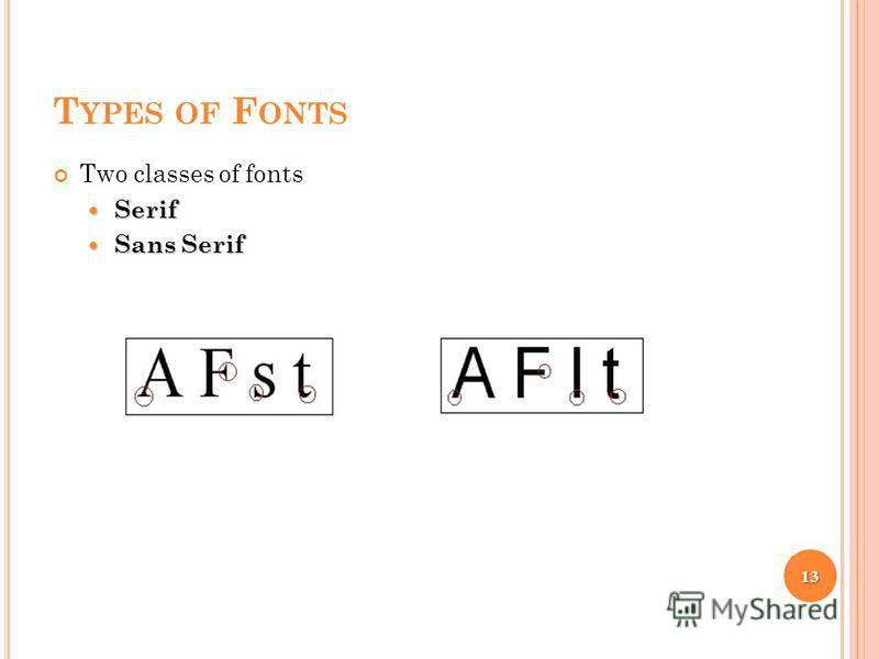 T YPES OF F ONTS Two classes of fonts Serif Serif Sans Serif Sans Serif 13