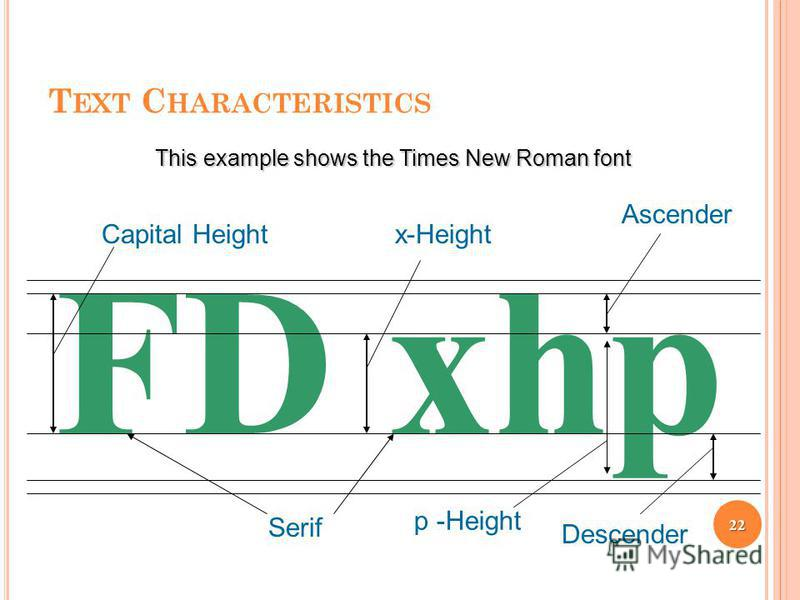 T EXT C HARACTERISTICS FD xhp Descender Capital Height Ascender Serif x-Height This example shows the Times New Roman font p -Height 22