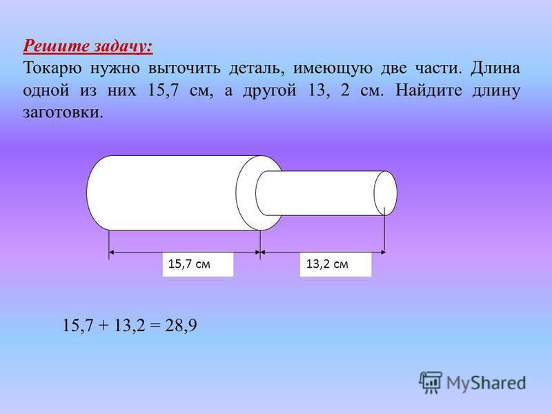 Решите задачу: Токарю нужно выточить деталь, имеющую две части. Длина одной из них 15,7 см, а другой 13, 2 см. Найдите длину заготовки. 13,2 см 15,7 см 15,7 + 13,2 = 28,9