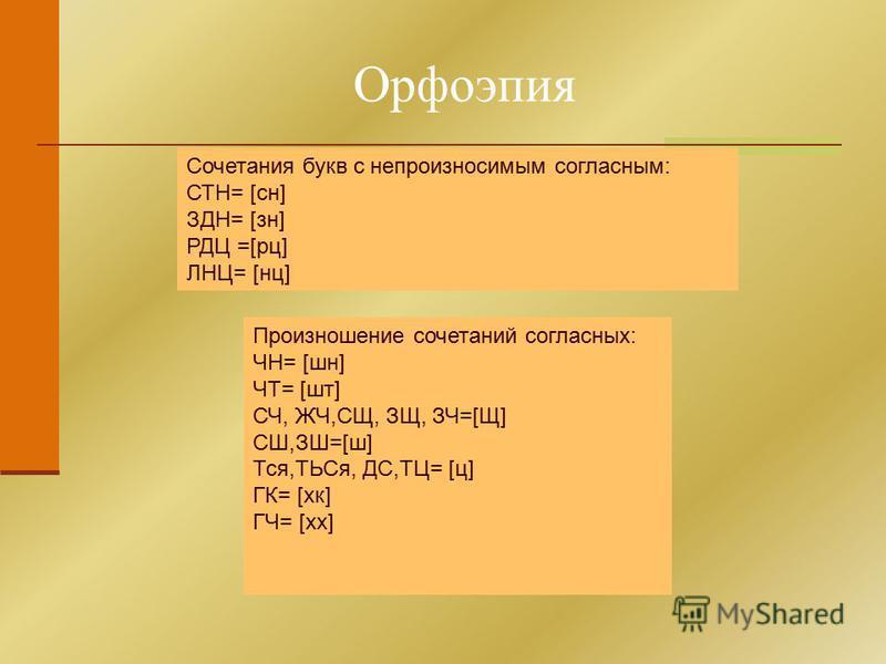 Орфоэпия Сочетания букв с непроизносимым согласным: СТН= [сн] ЗДН= [зн] РДЦ =[ру] ЛНЦ= [нц] Произношение сочетаний согласных: ЧН= [шн] ЧТ= [шт] СЧ, ЖЧ,СЩ, ЗЩ, ЗЧ=[Щ] СШ,ЗШ=[ш] Тся,ТЬСя, ДС,ТЦ= [ц] ГК= [хк] ГЧ= [хх]