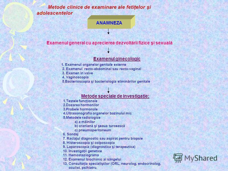 ANAMNEZA Metode clinice de examinare ale fetiţelor şi adolescentelor Examenul general cu aprecierea dezvoltării fizice şi sexuală Examenul ginecologic 1. Examenul organelor genitale externe 2. Examenul recto-abdominal sau recto-vaginal 3. Examen în v
